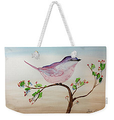 Chickadee Standing On A Branch Looking Weekender Tote Bag