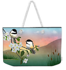 Chickadees And Apple Blossoms Weekender Tote Bag