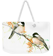 Chickadees And Orange Flowers Weekender Tote Bag by Suren Nersisyan