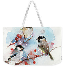 Chickadees With Berries Weekender Tote Bag