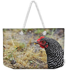 Weekender Tote Bag featuring the photograph Chicken And The Weed by Katie Wing Vigil