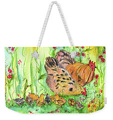 Weekender Tote Bag featuring the painting Chicken Family by Cathie Richardson