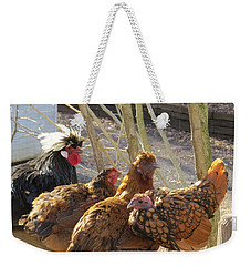 Chicken Protest Weekender Tote Bag by Jeanette Oberholtzer
