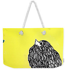 Weekender Tote Bag featuring the painting Chickens Four by Jason Tricktop Matthews
