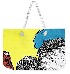 Weekender Tote Bag featuring the painting Chickens One by Jason Tricktop Matthews