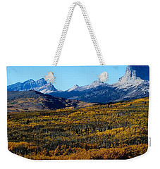 Chief Mountain In The Fall Weekender Tote Bag