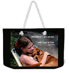 Child And Puppy Psalms Weekender Tote Bag