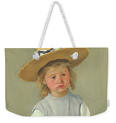 Weekender Tote Bag featuring the painting Child In A Straw Hat By Mary Cassatt 1886 by Movie Poster Prints