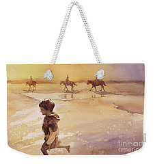 Weekender Tote Bag featuring the painting Child On Beach- Ocracoke Island, Nc by Ryan Fox