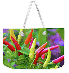 Weekender Tote Bag featuring the photograph Chili Pepper Art by Kerri Farley