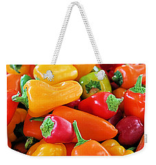 Weekender Tote Bag featuring the photograph Chili Peppers by Kristin Elmquist