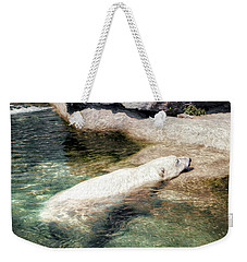 Weekender Tote Bag featuring the photograph Chillin' Polar Bear by Pennie  McCracken