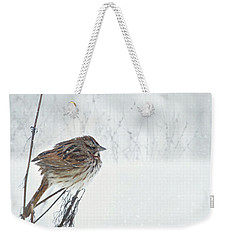 Weekender Tote Bag featuring the mixed media Chilly Song Sparrow by Lori Deiter