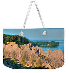Chimney Bluffs 1750 Weekender Tote Bag by Guy Whiteley