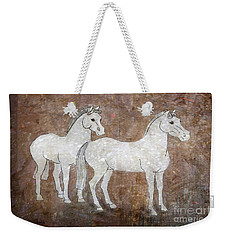 Weekender Tote Bag featuring the drawing Chinese Horses by Nareeta Martin