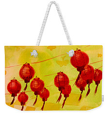 Weekender Tote Bag featuring the painting Chinese Lanterns by Maria Langgle