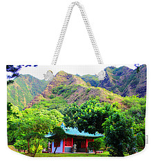Weekender Tote Bag featuring the photograph Chinese Pagoda In Maui by Michael Rucker