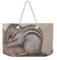 Weekender Tote Bag featuring the drawing Chipmunk, Tn Wildlife Series by Annamarie Sidella-Felts