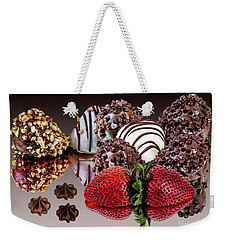 Chocolate And Strawberries Weekender Tote Bag by Shirley Mangini