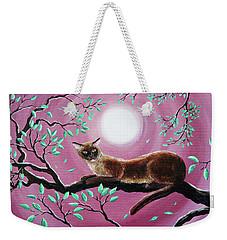 Chocolate Burmese Cat In Dancing Leaves Weekender Tote Bag by Laura Iverson
