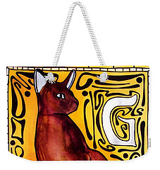 Chocolate Delight - Havana Brown Cat - Cat Art By Dora Hathazi Mendes Weekender Tote Bag