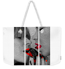 Weekender Tote Bag featuring the photograph Chocolate Kiss-tryptych by JD Mims