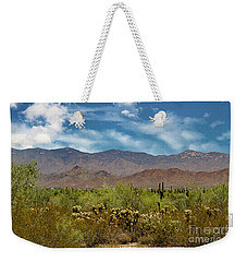 Cholla Saguaro And The Mountains Weekender Tote Bag by Anne Rodkin