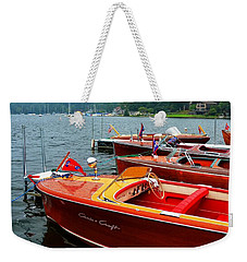 Chris Craft And Garwood Boats In Harbor Weekender Tote Bag