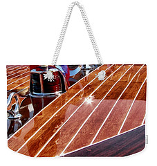 Weekender Tote Bag featuring the digital art Chris Craft Bow - Painterly by Michelle Calkins