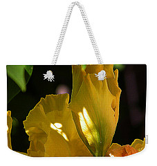 Weekender Tote Bag featuring the digital art Yellow Iris by Stuart Turnbull