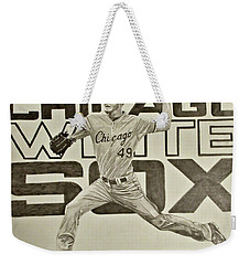 Weekender Tote Bag featuring the drawing Chris Sale by Melissa Goodrich