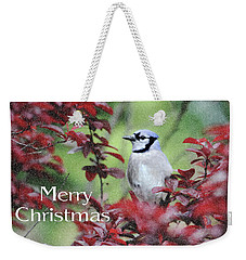 Christmas And Blue Jay Weekender Tote Bag by Trina Ansel