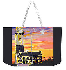 Christmas At The Lighthouse Weekender Tote Bag by Donna Blossom