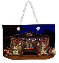 Weekender Tote Bag featuring the photograph Christmas At The Lighthouse Gazebo by Greg Graham