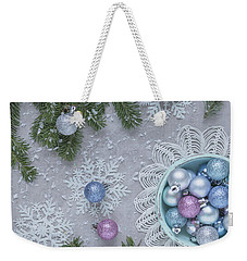 Weekender Tote Bag featuring the photograph Christmas Baubles And Snowflakes by Kim Hojnacki