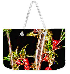 Weekender Tote Bag featuring the photograph Christmas Berries by EricaMaxine  Price