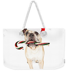 Christmas Bulldog Eating Candy Cane Weekender Tote Bag