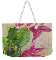 Weekender Tote Bag featuring the painting Christmas Cactus by Wendy Shoults