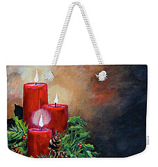Weekender Tote Bag featuring the painting Christmas Candles by Alan Lakin