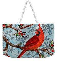 Weekender Tote Bag featuring the mixed media Christmas Cardinal by Li Newton