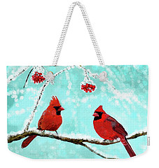 Weekender Tote Bag featuring the painting Christmas Cardinals by Leslie Allen