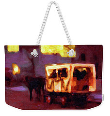 Weekender Tote Bag featuring the painting Christmas Carriage Ride In Vienna by Menega Sabidussi
