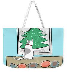 Weekender Tote Bag featuring the digital art Christmas Cat by Haleh Mahbod