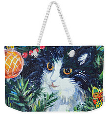 Weekender Tote Bag featuring the painting Christmas Catouflage by Li Newton