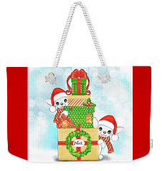 Weekender Tote Bag featuring the painting Christmas Chi Elves by Catia Lee