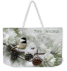 Weekender Tote Bag featuring the photograph Christmas Chickadee by Lori Deiter