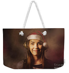 Weekender Tote Bag featuring the photograph Christmas Disco Dj Woman by Jorgo Photography - Wall Art Gallery