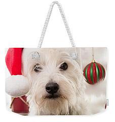 Christmas Elf Dog Weekender Tote Bag by Edward Fielding