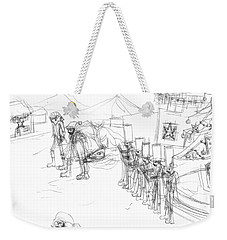Weekender Tote Bag featuring the drawing Christmas Gathering by Artists With Autism Inc