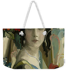 Weekender Tote Bag featuring the painting Christmas Grace by Carrie Joy Byrnes